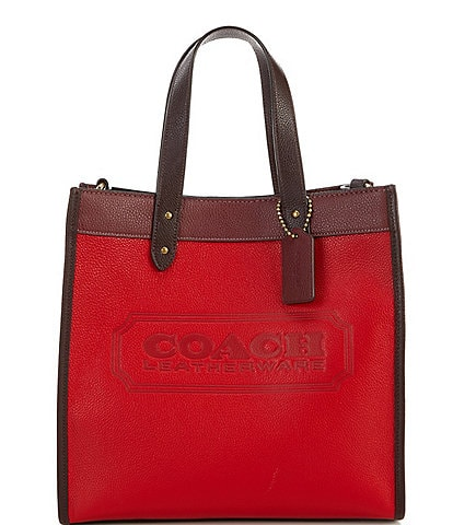 COACH Field Colorblock Pebble Leather and Suede Tote Bag
