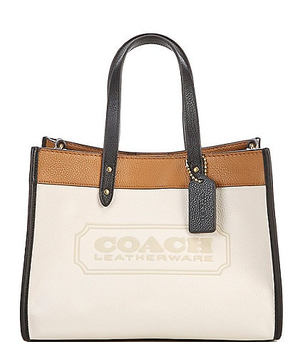 COACH Field Colorblock Pebble Leather Tote Bag