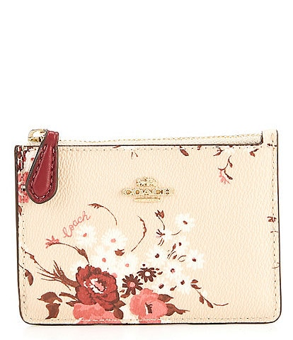 COACH Floral Bundle Print Mini Skinny ID Case