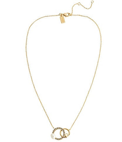 COACH Freshwater Pearl & Crystals Interlocking Pendant Necklace