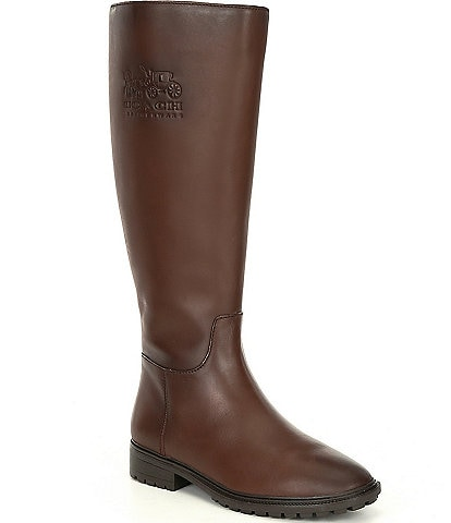 COACH Fynn II Leather Tall Wide Calf Block Heel Riding Boots