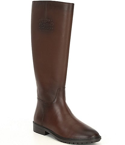 COACH Fynn Leather Tall Block Heel Riding Boots