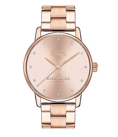 COACH Grand Rose Gold-Tone Stainless Steel Bracelet Watch