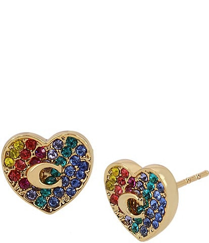 COACH Heart Swarovski Crystal Stud Earrings