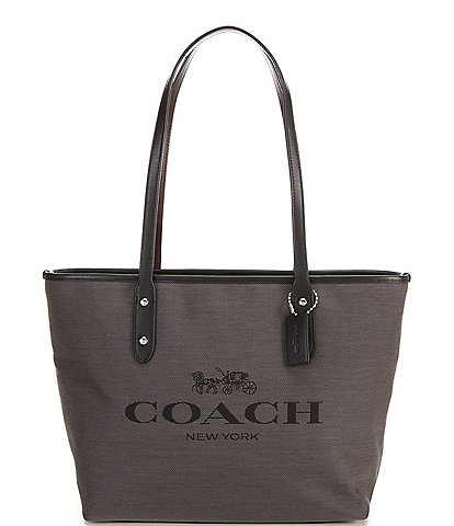 COACH Horse and Carriage City Jacquard Leather Zip Tote Bag