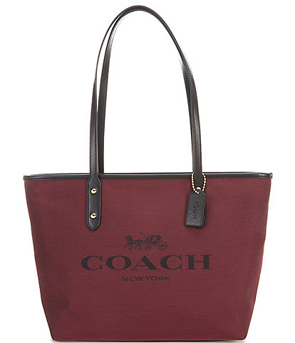 COACH Signature Horse and Carriage City Jacquard Leather Zip Tote Bag