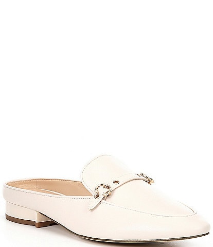 COACH Irene Leather Buckle Detail Loafer Slides