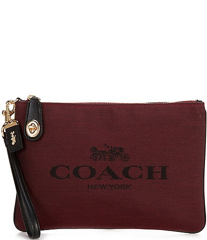COACH Signature Jacquard Horse and Carriage Canvas Turnlock Pouch