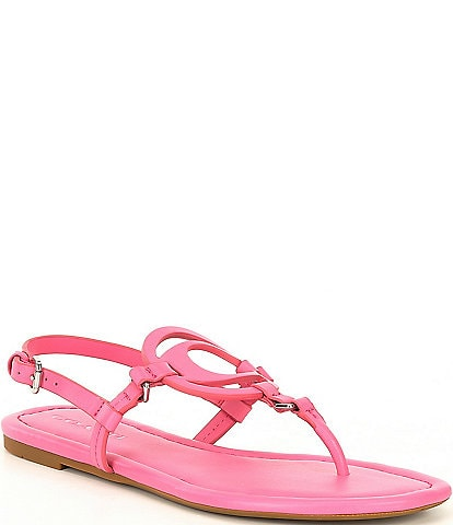 COACH Jeri Leather Logo Thong Sandals