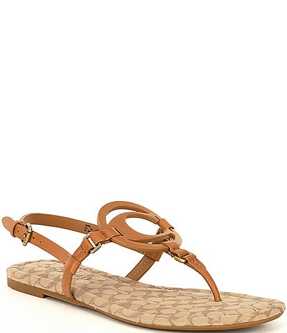 COACH Jeri Logo Leather Thong Sandals