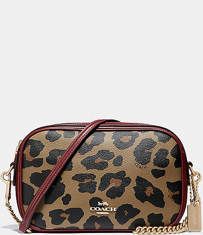 COACH Leopard Print Isla Chain Crossbody Bag