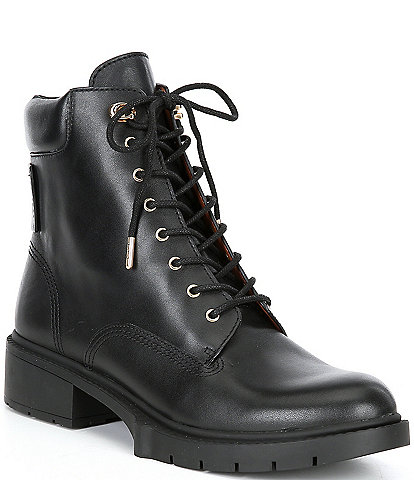 COACH Lorimer Leather Lace-Up Booties