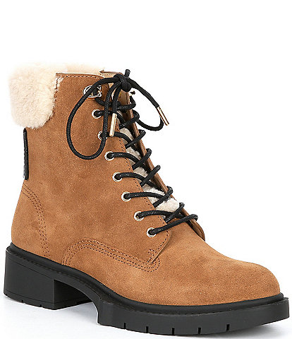 COACH Lorimer Suede Shearling Collar Lace-Up Booties