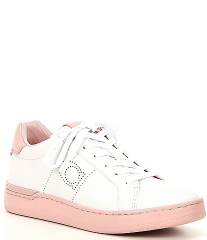 COACH Lowline Logo C Perforated Leather Lace-Up Sneakers