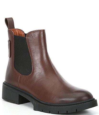COACH Lyden Leather Chelsea Block Heel Booties