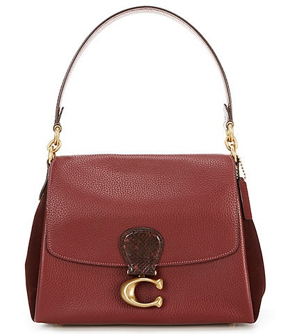 COACH May Mixed Leather with Genuine Snake Trim Shoulder Bag