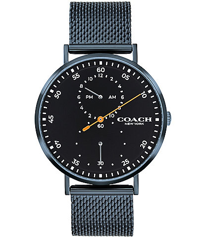 COACH Men's Charles Blue IP Mesh Bracelet Watch