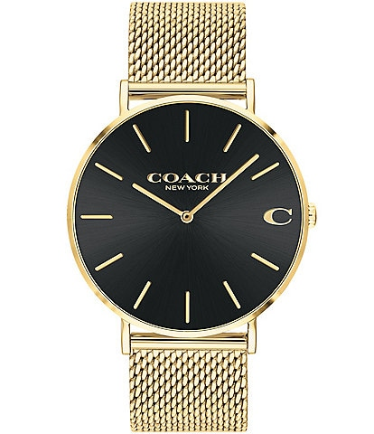 COACH Men's Charles Goldtone Mesh Analog Bracelet Watch
