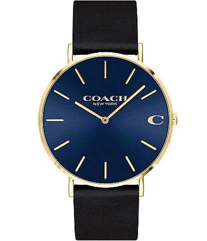 COACH Men's Charles Leather Strap Watch