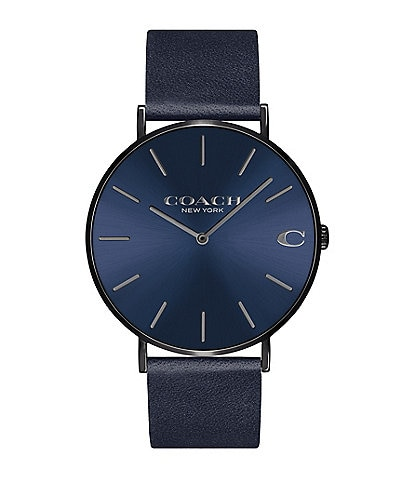 COACH Men's Charles Navy Leather Strap Watch