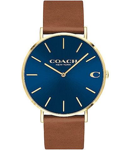 COACH Men's Charles Saddle Leather Strap Blue Sunray Dial Watch