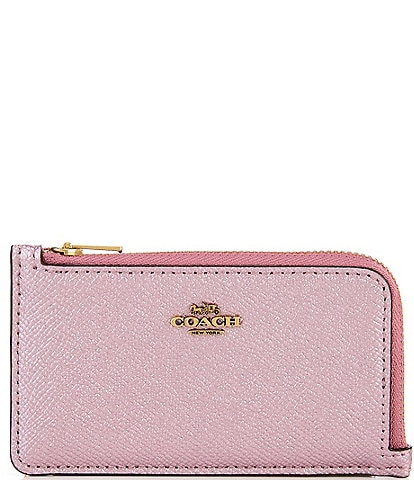 COACH Metallic Cross-Grained Leather Small L-Zip Card Case