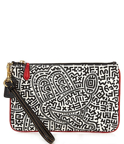 COACH Disney Mickey Mouse x Keith Haring Maze Small Wristlet