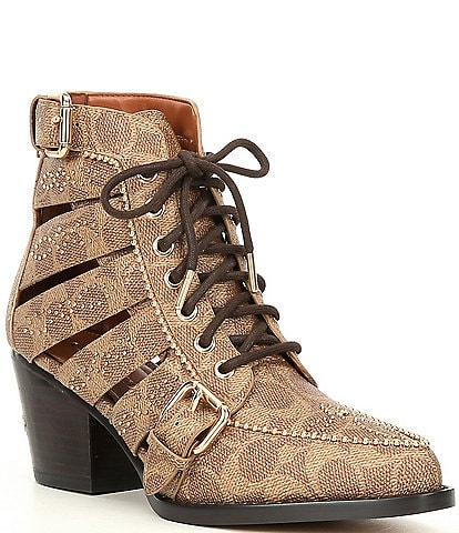 COACH Paisley Logo Studded Buckle Cut Out Signature Booties