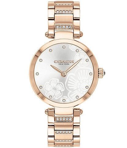 COACH Park Carnation Gold Etched Sunray Dial Bracelet Watch