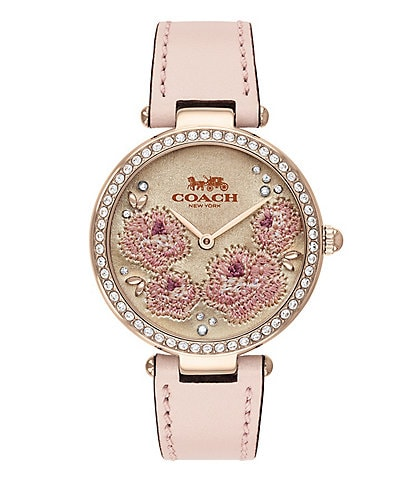 COACH Park Embroidered Dial Pink Strap Analog Watch