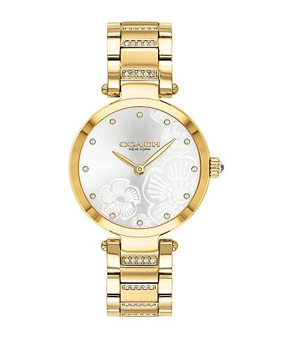 COACH Park Gold Tone Etched Sunray Dial Bracelet Watch