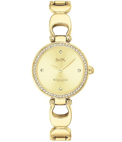 COACH Park Signature Chain Gold-Tone Bangle Watch