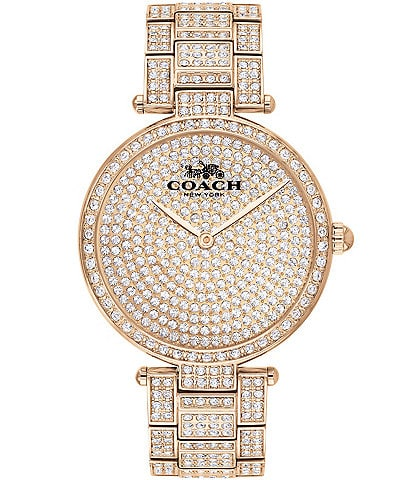 COACH Park Women's Carnation Gold Steel & Crystal Analog Watch