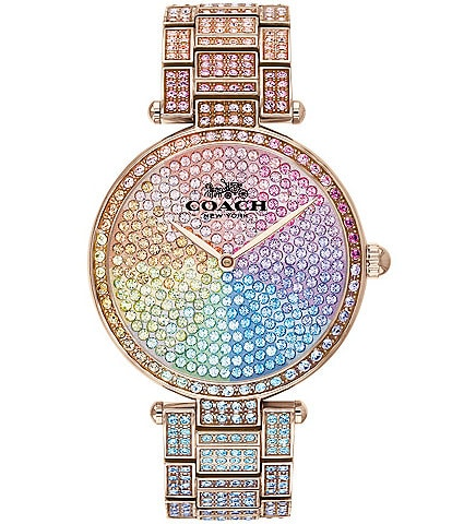COACH Park Women's Gold Steel & Rainbow Crystal Analog Watch