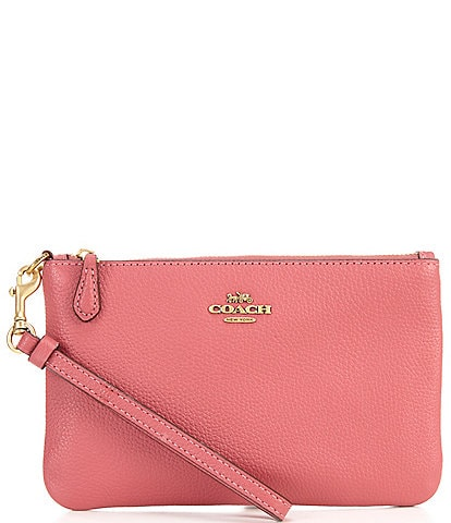 COACH Polished Pebble Leather Small Zip Top Wristlet
