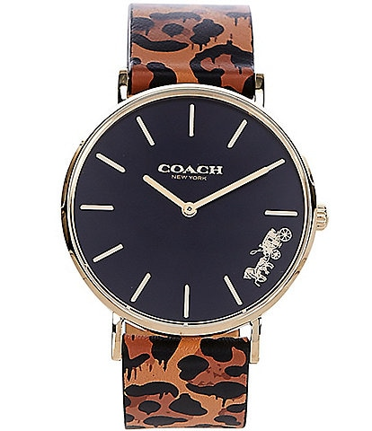 COACH Perry Animal Print Leather Strap Watch