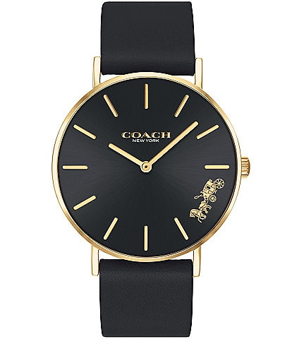 COACH Perry Black Leather Horse and Carriage Watch