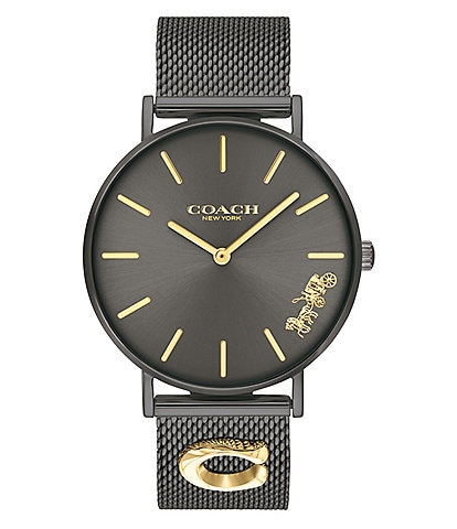 Coach Perry Black Mesh Signature Charm Analog Watch