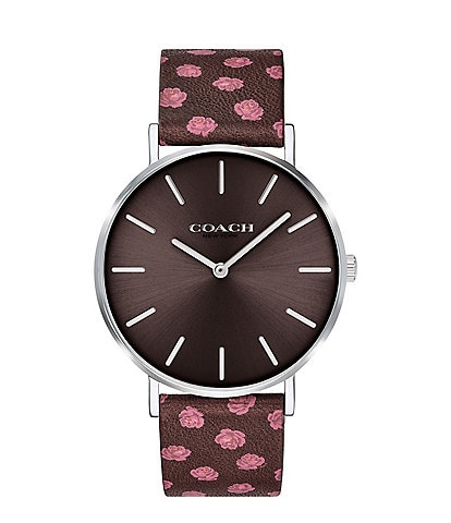 COACH Perry Burgundy Rose Print Leather Strap Analog Watch