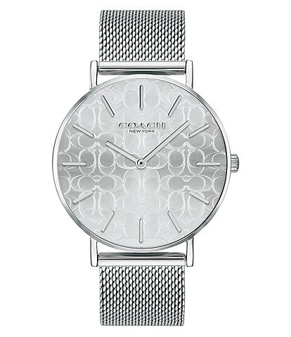 COACH Perry Etched Logo Dial Mesh Bracelet Analog Watch