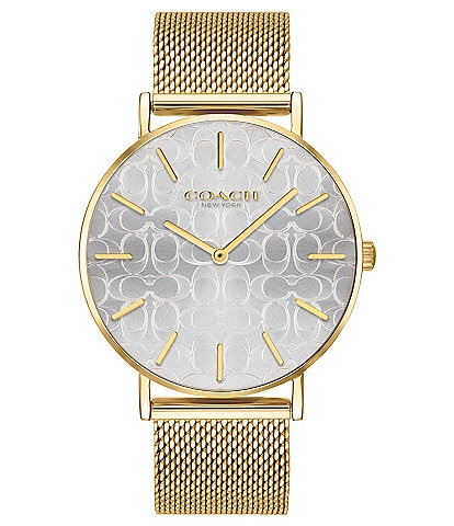 COACH Perry Etched Signature Dial Goldtone Mesh Bracelet Analog Watch