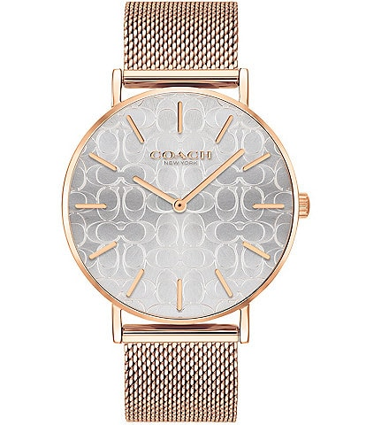 COACH Perry Etched Signature Dial Rosegold Tone Mesh Bracelet Analog Watch
