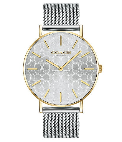 COACH Perry Etched Signature Dial Two Tone Mesh Bracelet Analog Watch
