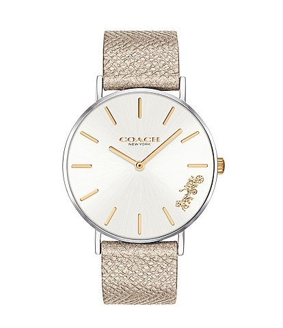 COACH Perry Gold Metallic Leather Strap Analog Watch