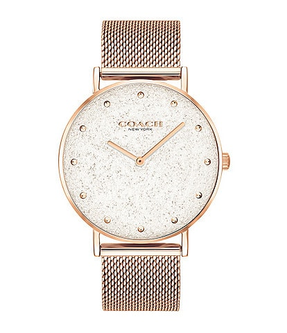 COACH Perry Rose Gold Mesh Bracelet Watch