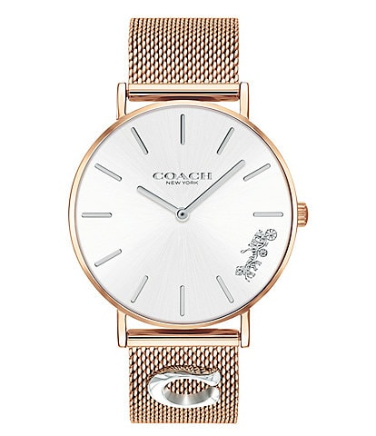 COACH Perry Rose Gold Mesh Signature Charm Analog Watch