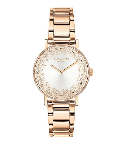 COACH Perry Shimmer Texture Bezel Rose Gold Bracelet Watch