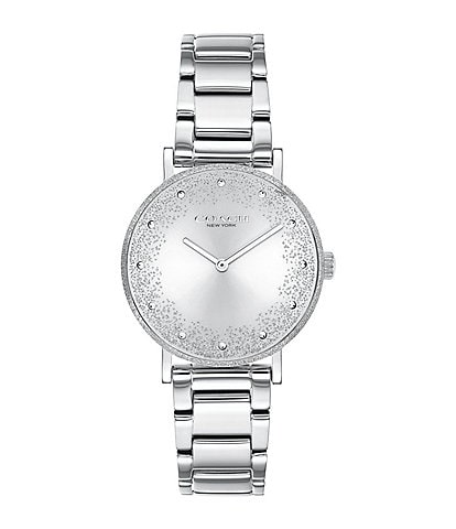 COACH Perry Shimmer Texture Bezel Stainless Steel Bracelet Watch