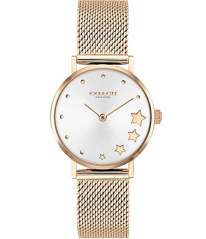 COACH Perry Star Rose Gold Mesh Ladies Watch