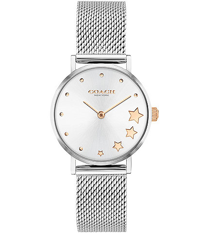 COACH Perry Star Stainless Steel Mesh Bracelet Watch